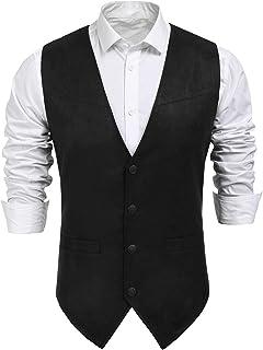 COOFANDY Men's Suede Leather Suit Vest Casual Western Vest Jacket Slim Fit Vest Waistcoat