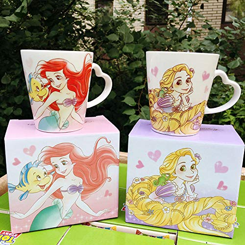 Linda Caricatura Ariel Princesa La Sirenita Rapunzel Taza De Leche De Café De Cerámica Colección De Regalos De Cumpleaños para Niños-Rapunzel_No_Box