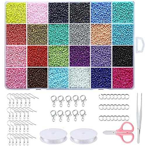 Abalorios para Facer Pulseras Collares, Set para Hacer Pulseras -perlas para pulseras, cuentas para collares, perlas de cristal, juego para pendientes, pulseras, collares y manualidades