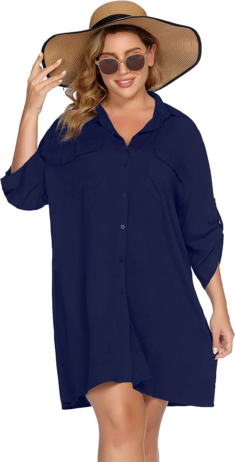 IN'VOLAND Women's Plus Size Cover Up Beachwear Button Up Loose Fit Shirt Swimsuit Bathing Suit Beach Dress