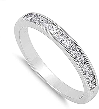 Double Accent Sterling Silver Wedding Ring Princess Cut Channel Set Wedding Band 3MM (Size 5 to 12)