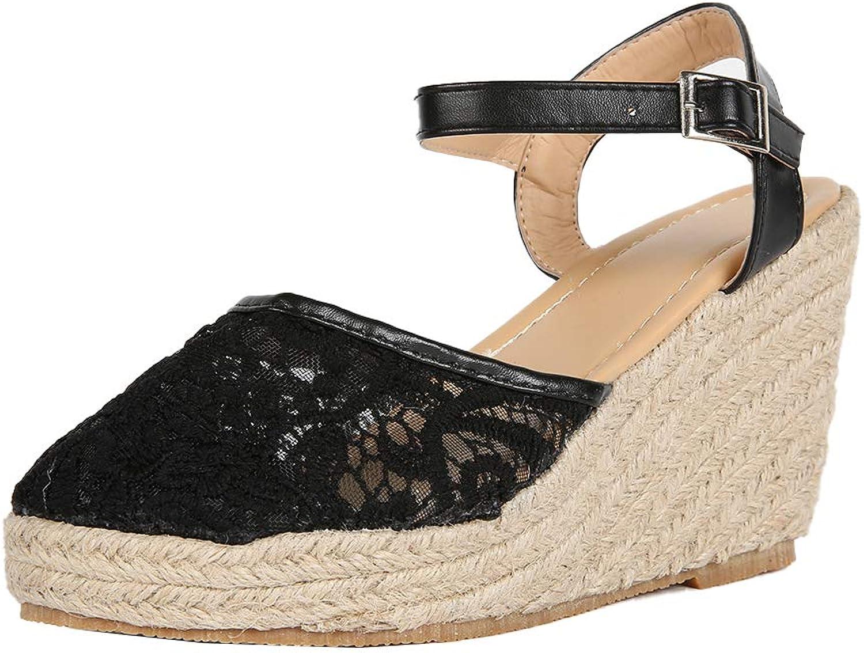 Remikstyt Womens Platform Sandals Espadrille Wedge Closed Toe Lace Ankle Strap Summer Sandels shoes