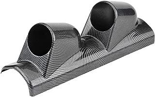 Acouto Gauge Mount Pod, Carbon Fiber Universal Heavy Duty Racing Sport Meter Gauge Pillar Mount Pod Holder Bracket Gauge Holder(dual hole)
