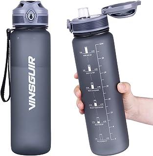 Vinsguir 32 oz Motivational Water Bottle with Time Marker & Measurements, 1 Liter BPA Free Water Jug for Women Men, Leak Proof Hydration Bottle for Sports Gym Workout Hiking Office (No Straw)