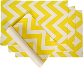 Didi's Kitchen Cotton Placemats Chevron Stripes Yellow & White 4/pack