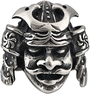 Men Jewelry Rings Japanese Bushido Samurai Helmet Warrior Punk Ring