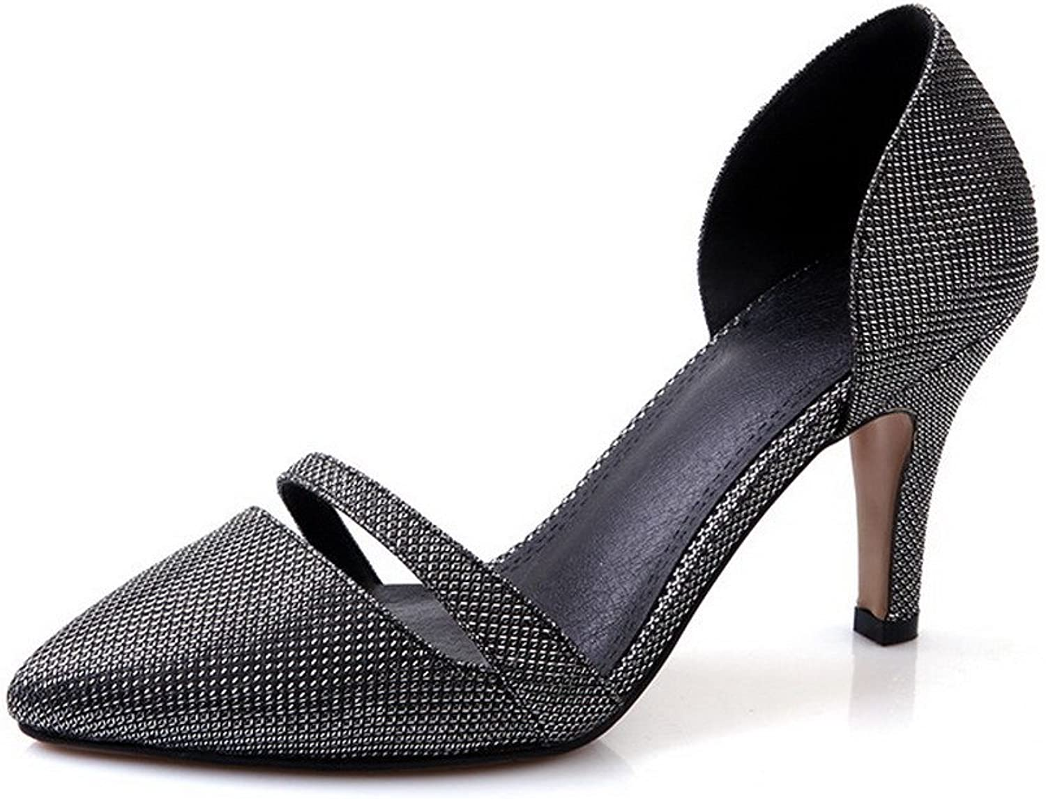 AmoonyFashion Women's Pull On High Heels Blend Materials Solid Pointed Closed Toe Pumps shoes