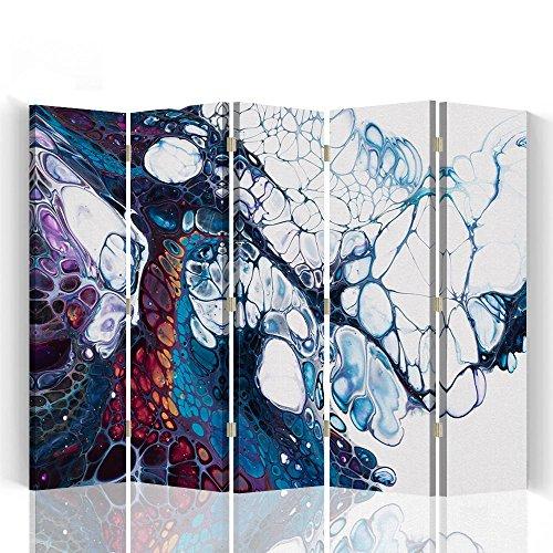 Raumteiler Trennwände Foto Paravent Spanische Wand Bedruckt aufLeinwand Trennwand Deko Design Paravent beidseitig 5 teilig 180x180 cm Mayuko Miura Farbe Abstrakt Marineblau Bordeauxrot Weiß