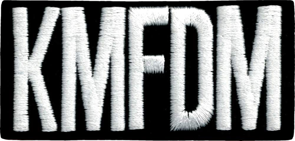 KMFDM - Cheap mail order specialty store Max 62% OFF White Logo on Black Rectangle Embroidered On Iron Patc