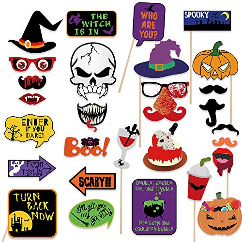 2019 Halloween Photo Booth Props(28pcs) for Halloween Party Supplies, Creepy Costume Props with Sticks for Halloween Decorations, Black, Red Trick or Treat Décor Favor