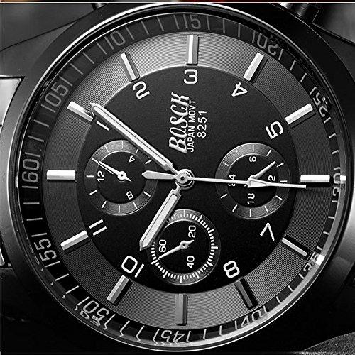 『ZDTech 腕時計 クロノグラフ デイト クォーツムーブメント 海外モデル メンズ ウォッチ (ブラック)』の4枚目の画像