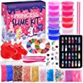 Princess Slime Kit for Girls - Water Based Colorful Premade Slime, Glow in the Dark, 24 Glitter Powder, Ultimate DIY Pink Crystal Clear Unicorn Slime Kit for Girls Gift for 5 6 7 8 9 10 11 12 Year Old
