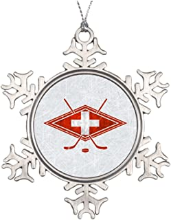 Withyouc Switzerland Swiss Ice Hockey Badge Hockey Pin Western Christmas Snowflake Ornaments Custom Christmas Tree Snowflake Ornaments