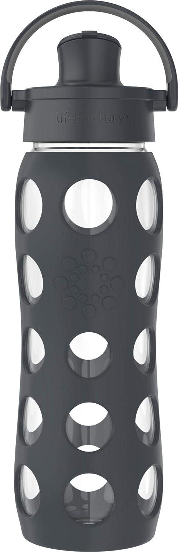 Lifefactory 22-Ounce Active Flip Cap Glass Water Bottle, 22oz, Carbon