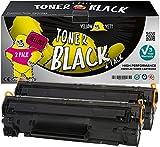 Yellow Yeti Pack de 2 Cartuchos de Tóner compatibles para HP Laserjet Pro P1100 P1102 P1102w M1212nf M1213nf M1217nfw M1132 MFP Canon i-SENSYS LBP-6000 LBP-6018 LBP-6020 MF-3010 [3 años de garantía]