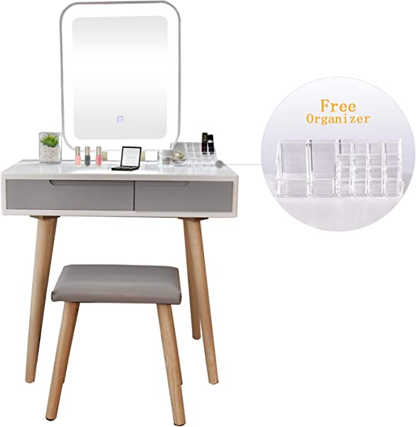 Vanity Table Set With Adjustable Brightness Mirror And Cushioned Stool Dressing Table Vanity Makeup Table With Free Make Up Organizer