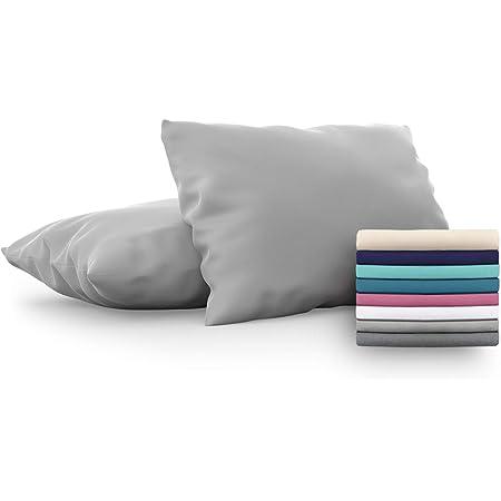 Dreamzie - Set de 2 x Taie d'Oreiller 50x80 cm, Gris Anthracite, Microfibre (100% Polyester) - Housse de Coussin pour Le Lit Confortable et Hypoallergénique