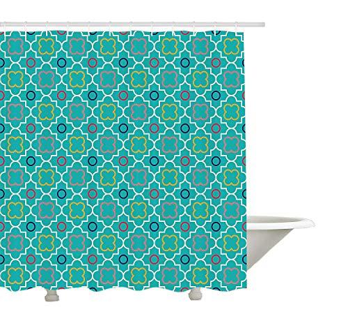 Yeuss Teal Decor Collection, traditionelle Quatrefoil-Gittermustergrafik mit geometrischen Formen aus Marokko, Duschvorhang aus Polyestergewebe, grün-gelb