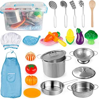 D-FantiX Pretend Play Toy Kitchen Accessories Pots and Pans Kids Kitchen Playset, Utensils, Apron and Chef Hat, Cutting Vegetables Play Cooking Set for Toddlers, Boys and Girls 2 3 4 5 + Years Old