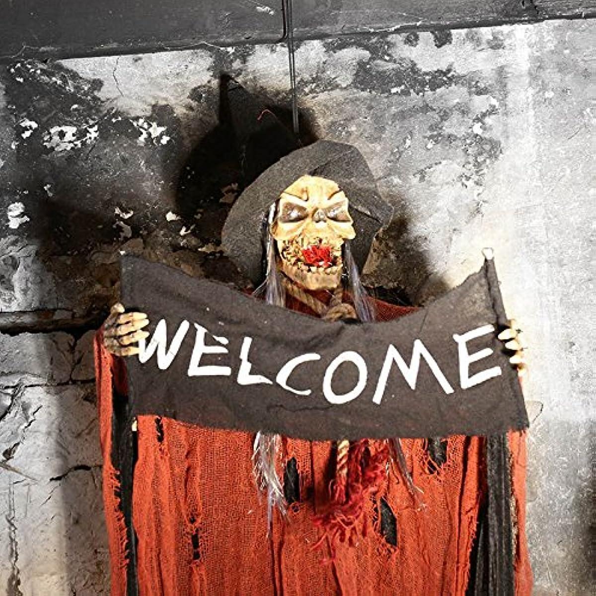 公園発症今日ZaRoing ハロウィン 飾り 幽霊 ホラーディスプレイ お化け屋敷 小道具 骸骨 吊り下げタイプ 目が光る 悲鳴が鳴る 雰囲気抜群 装飾品 籠囲い ハロウィンパーティー