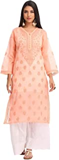 Ada Hand Embroidered Indian Chikankari Pure Cotton Women's Kurti Kurta A231409