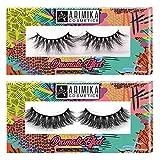 Arimika 2 Styles Long Thick Dramatic Look 3D Mink False Eyelashes, Reusable, Wispy, Glamorous Mink Lashes