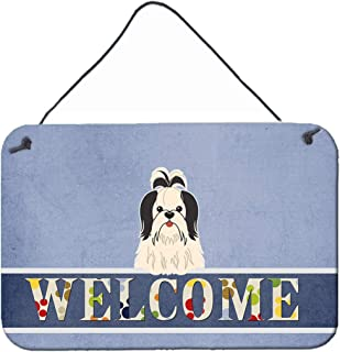 Caroline's Treasures BB5669DS812 Shih Tzu Black White Welcome Metal Print, 8 x 12, Multicolor