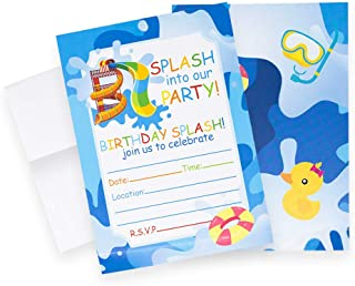 Pool Party Invitations (Quantity of 20), Birthday Party, Larger Sized with Vivid Colors, Summer Pool Party Supplies, Envelopes Included