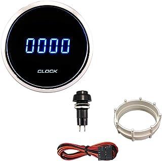 "PA Auto Digital Clock Gauge Blue Back Light 24 hr for Car Interior Dash 52mm 2 1/16""(12 Volt DC)"