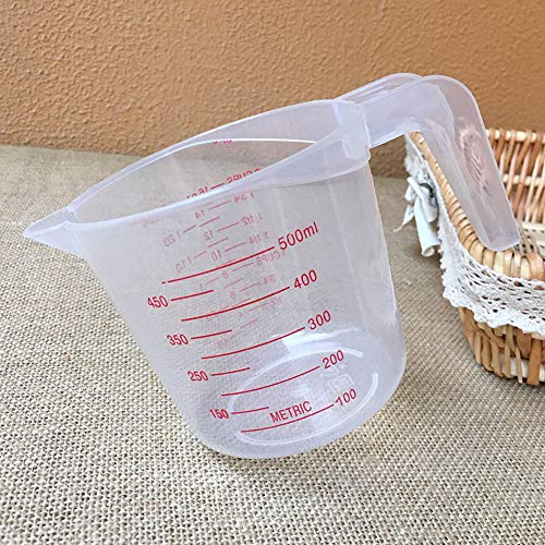 Medición De Plástico Jarra De Medida De La Taza con La Escala De Medición De La Manija 500 Ml Transparente Tazas De Anidación Apilable Contenedor para Líquidos Sólido Seco