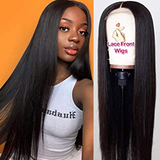 Hermosa 9A Grade Human Hair Wigs Pre Plucked with Baby Hair 150% Density Brazilian Straight Human Hair Lace Front Wigs for Women Natural Hairline Black Color 22 inch