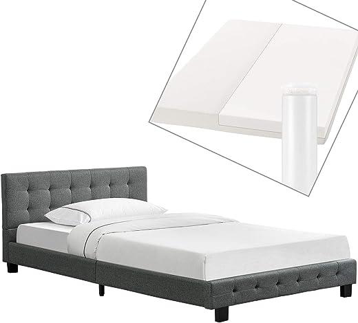 Artlife Polsterbett Manresa 120×200 cm – Bett Komplett-Set mit Matratze, Lattenrost & Kopfteil – Holz Bettgestell für Kinder bis Erwachsene – grau