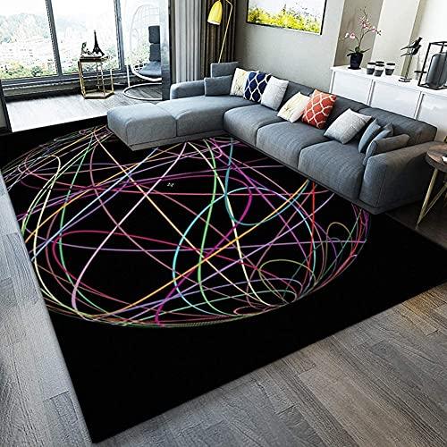 LOXZJYG Alfombras de impresión Moderna Algodón poliéster rectángulo Sala de Estar Non Deslizante Arte Hoom decoración Alfombra (Color : Negro, tamaño : 100×160cm)