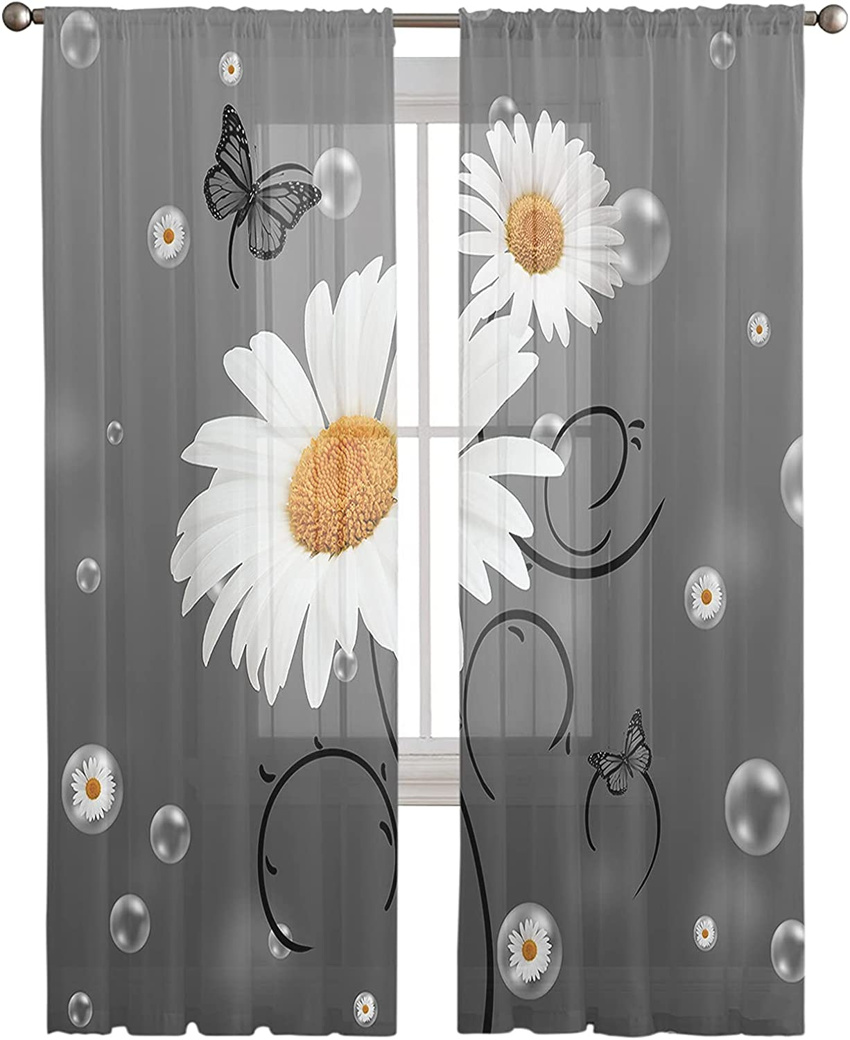 Outlet SALE Sheer Curtains Panels 96 Inches Voile Long Daisy Bubble Selling Yellow