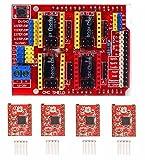 iHaospace CNC Engraver Shield Expansion Board + 4Pcs A4988 Stepper Motor Driver avec kit de dissipation thermique pour imprimante 3D Arduino
