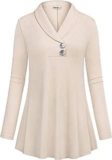 Women Fall Long Sleeve Tops Shawl Neck Button Down Dressy Blouses Shirts