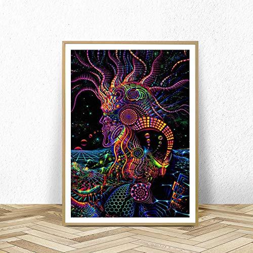 KWzEQ Modernes psychedelisches abstraktes Illusionsplakat-Wandkunstplakat und druckt Wohnzimmerhauptdekoration,Rahmenlose Malerei,40X60cm