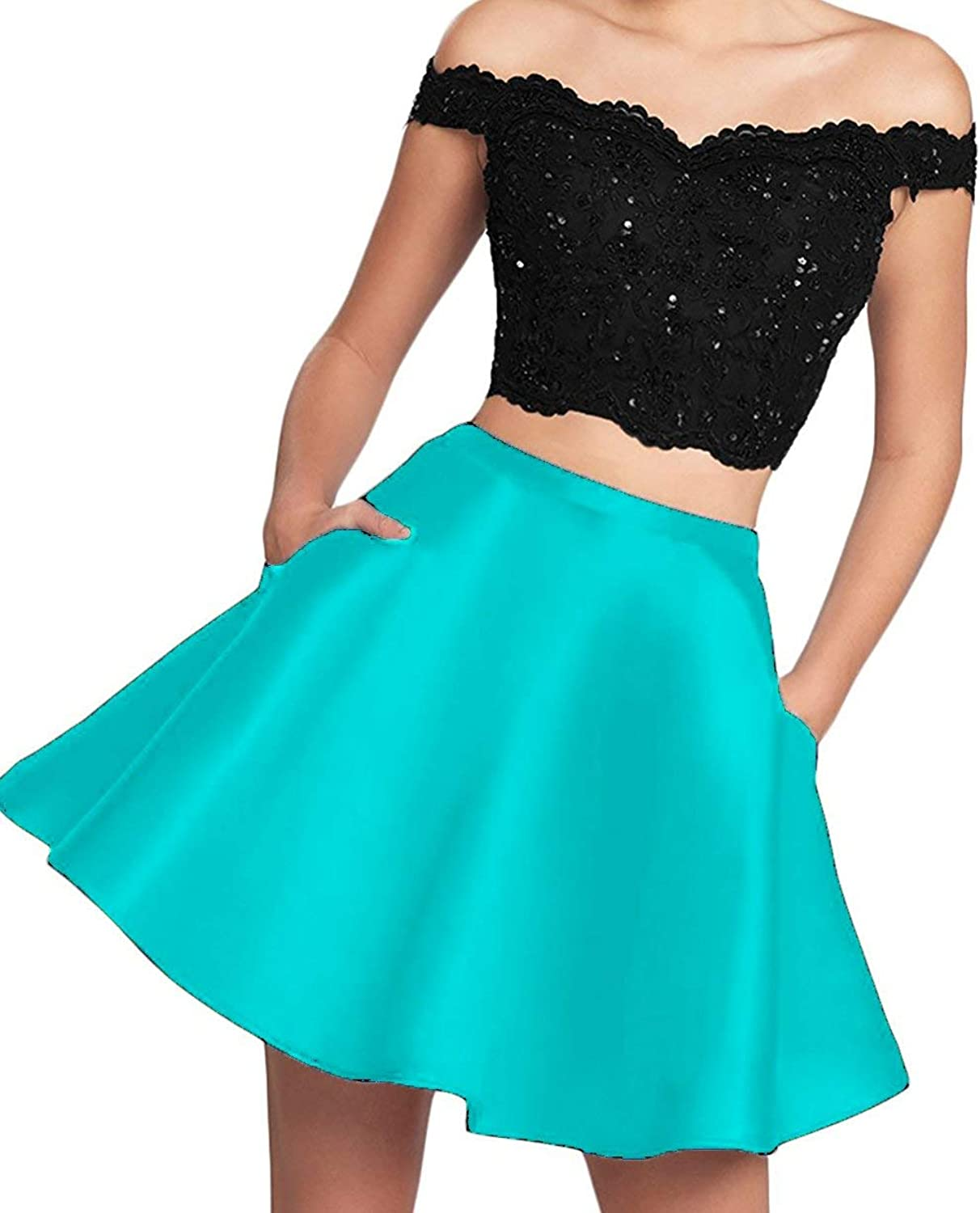 Scarisee Off Shoulder Beaded 2 Pieces Homecoming Prom Party Dresses Lace Pockets
