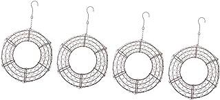 Fenteer 4-Pack Round Metal Wire Wreath Frame Form Hanger - Succulent Pot Metal Hanging Planter Plant Basket Holder