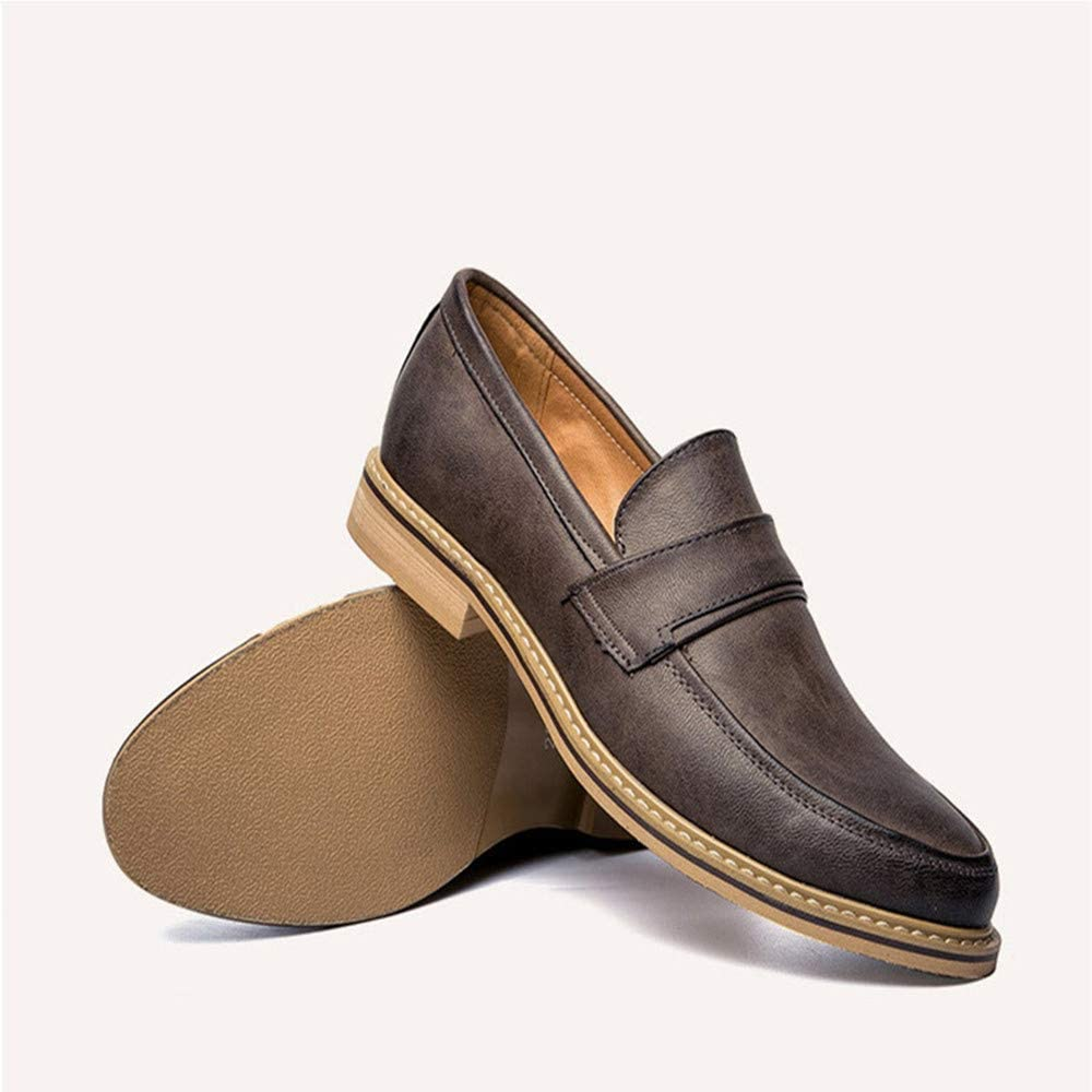 Spring Mens Leather Shoes Casual Shoes Breathable Shoes Flat Heeled Shoes(24.0-27.0cm) Mens Leather Dress Shoes Slip On Plain Toe Loafer Color : Gray, Size : 6.5 US