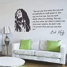 Wall Vinyl Decal Bob Marley You Say You Love Rain Lyrics Music Quote Lounge Living Room Hallway Bedroom Statement Mural Vinyl Decor Sticker Home Art Print TT10942
