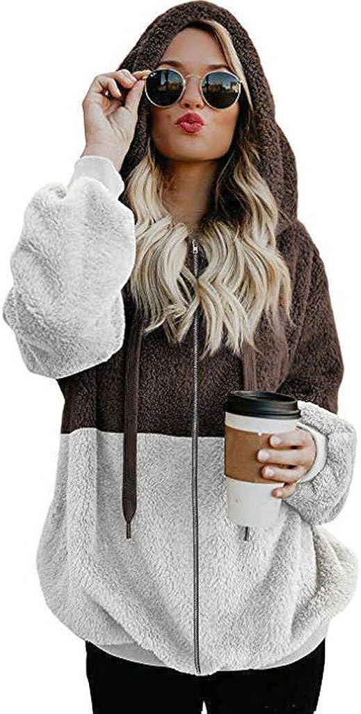 Lovor Women Casual Fleece Jacket Hoodies Full Zip Faux Fuzzy Long Sleeve Patchwork Fluffy Fleece Sweatshirt Outwear