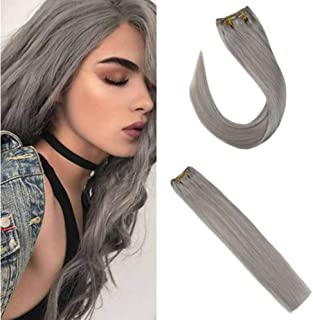 Sunny Clip in Grey Hair Extensions Human Hair 22 inch Hair Clip in Extensions Silver Human Hair Double Weft Thick Human Hair Clip in Full Head 7pcs 120g