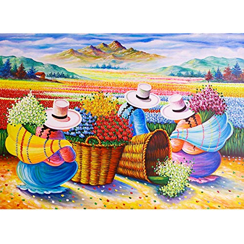 5D Diamond Painting Kits for Adults(40x30cm), DIY Round Full Drill Diamond Picture Art Craft Kits for Relaxation and Home Wall Decor Flower Pickers