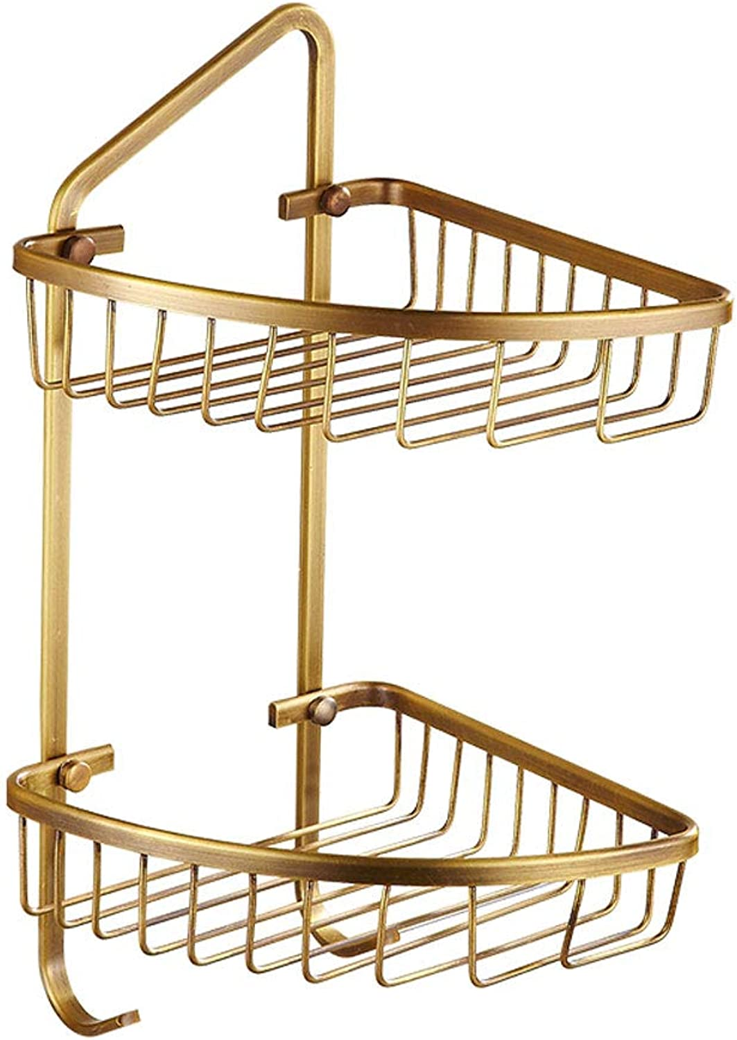 Copper Antique Double Layer Rack Bathroom Triangle Storage Basket Bathroom Corner Shelves Accessories Storage