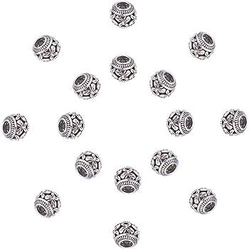 NBEADS Perline Europei, 50 Pezzo di Perle di Argento Antico Stile Tibetano da 11 mm con Motivo A Farfalla per La Creazione di Collane A Braccialetto