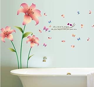 1 Pack 3D Love Lily Pink Flowers Wall Stickers Living Room Bedroom Princess Nursery Optimum Popular Dream Butterfly World Moon Star Ocean Sun Flower Vinyl Window Mural Art Decor