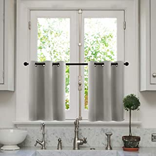 MRTREES Kitchen Tier Curtains 24 inches Long Grey Short Cafe Curtains Room Darkening Small Bathroom Window Curtain Tiers Half Window Curtains Grommet Top 2 Panels Gray