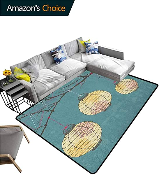 YucouHome Lantern Print Area Rug Underlay Three Paper Lanterns Hanging On Branches Lighting Fixture Source Lamp Boho Durable Rugs Living Dinning Office Rooms Bedrrom Hallway Carpet 2 X 6