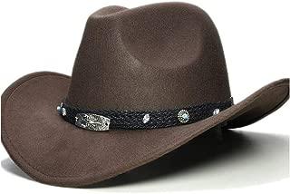 LiWen Zheng New Women Men Wool Hollow Western Cowboy Hat Roll-up Wide Brim Cowgirl Jazz Equestrian Sombrero Cap With Fashion Band